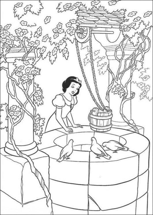 Princess Snow White Prince and Bird Disney Coloring Page - Cartoon ...