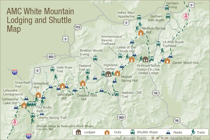 White Mountain New Hampshire hut to hut trail with a shuttle ...