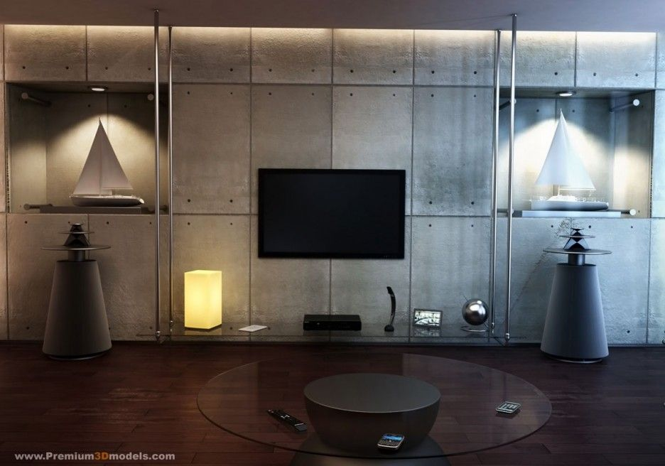 Interior Amazing TV Rooms Design Ideas Unique Concrete Wall