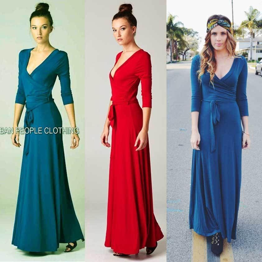 3 4 sleeve long maxi dress 70s