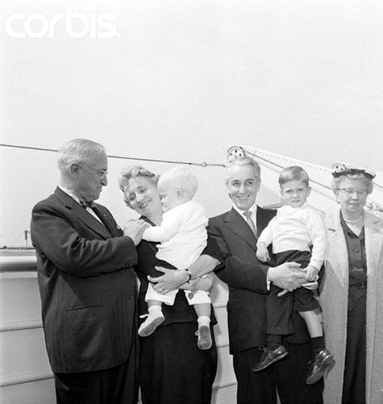 Harry S. Truman and Family Members Posing on Ship Deck New York ...