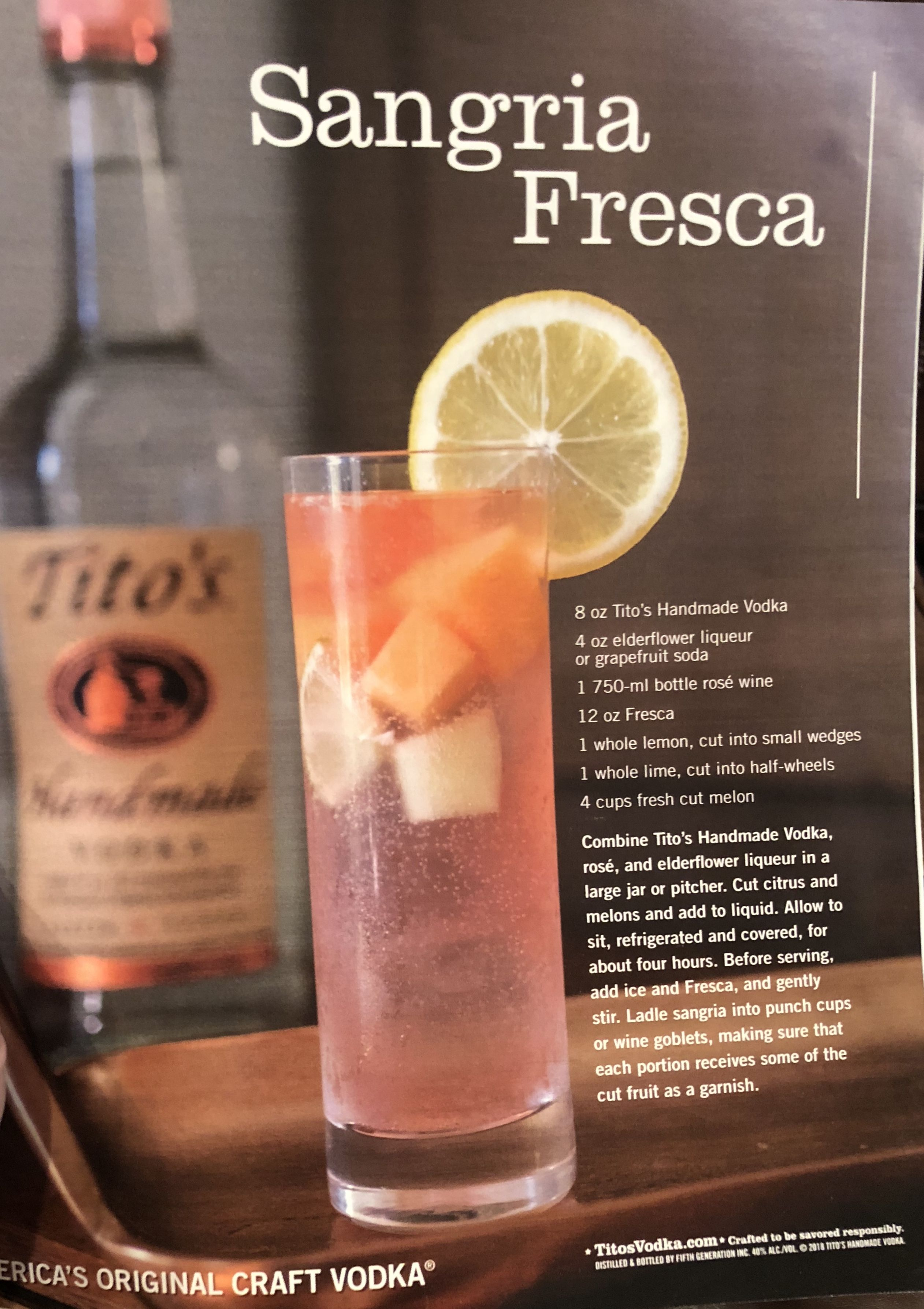 Tito S Sangria Fresca Grapefruit Soda Happy Hour Drinks Vodka Drinks