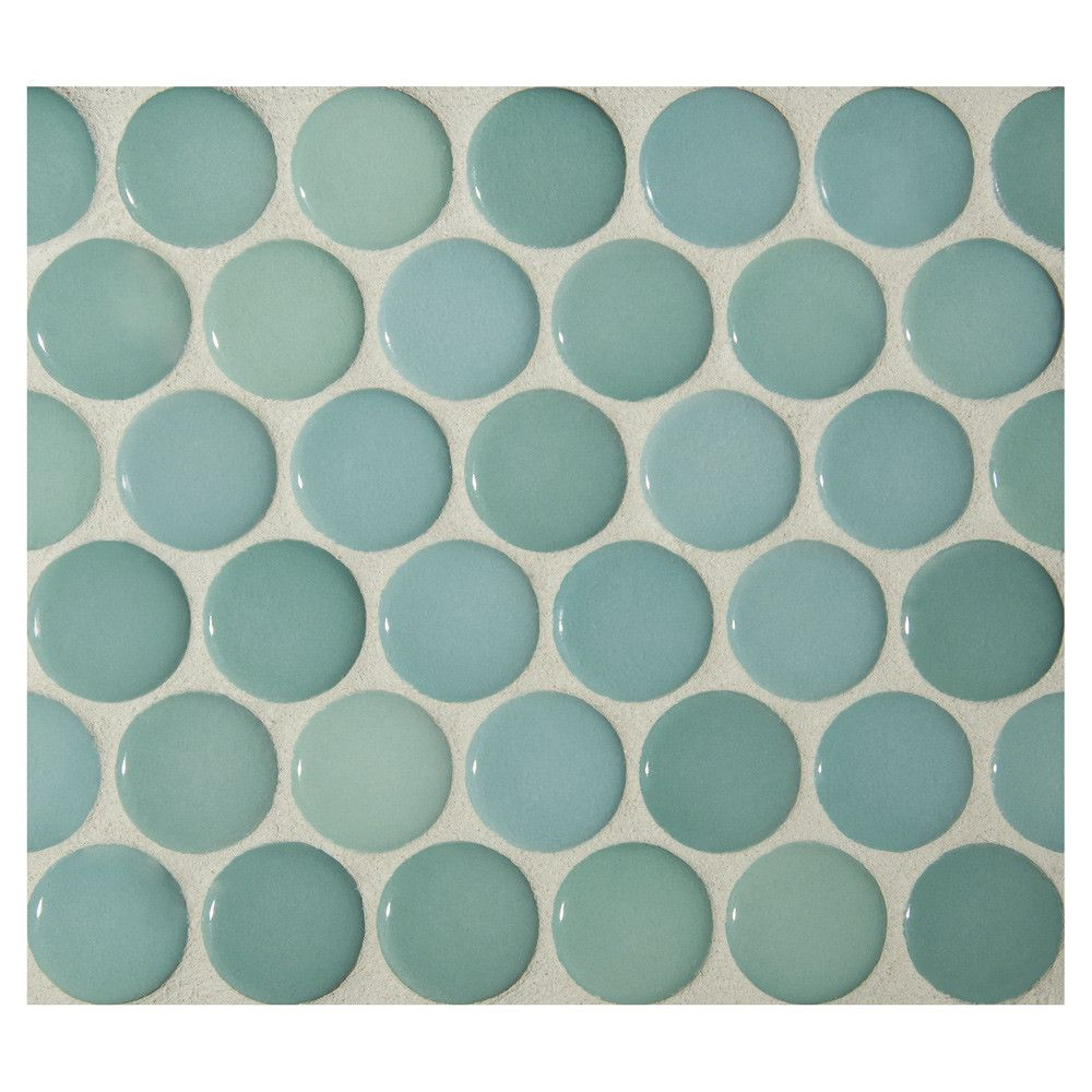 Penny Round Mosaic Ocean Green Gloss Complete Tile Collection Penny Round Mosaic Penny Round Tiles Penny Round