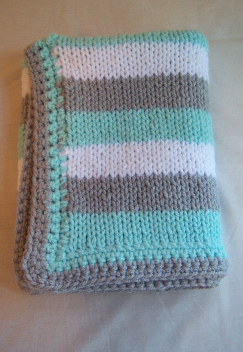Knit Chunky Baby Blanket Striped with Teal White and Grey ...