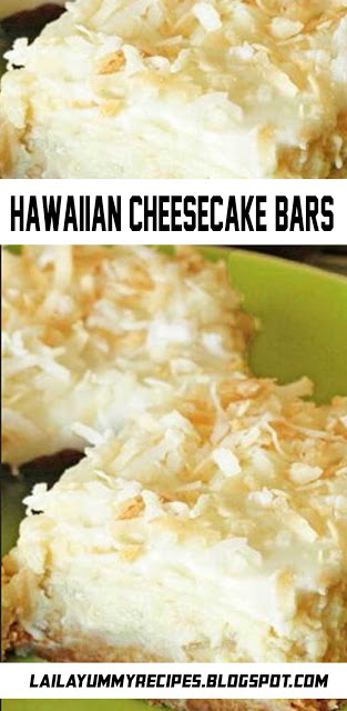 These Hawaiian Cheesecake Bars taste just like a tropical island getaway. And who couldn't use that during this time of year? #hawaiianfoodrecipes