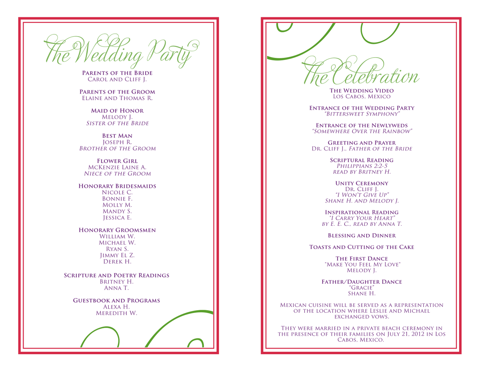 wedding itinerary templates free | Wedding Reception ...