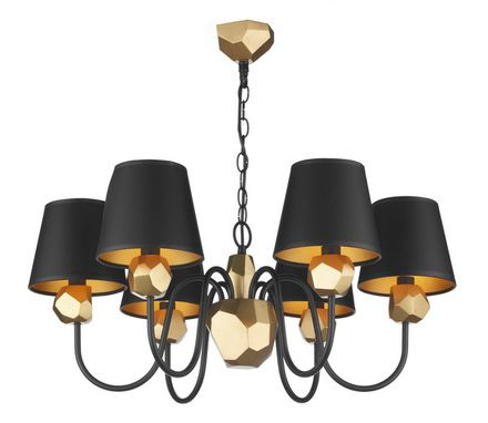 Sha0654 Hid06 Shard 6 Light Black And Gold Chandelier With Shades