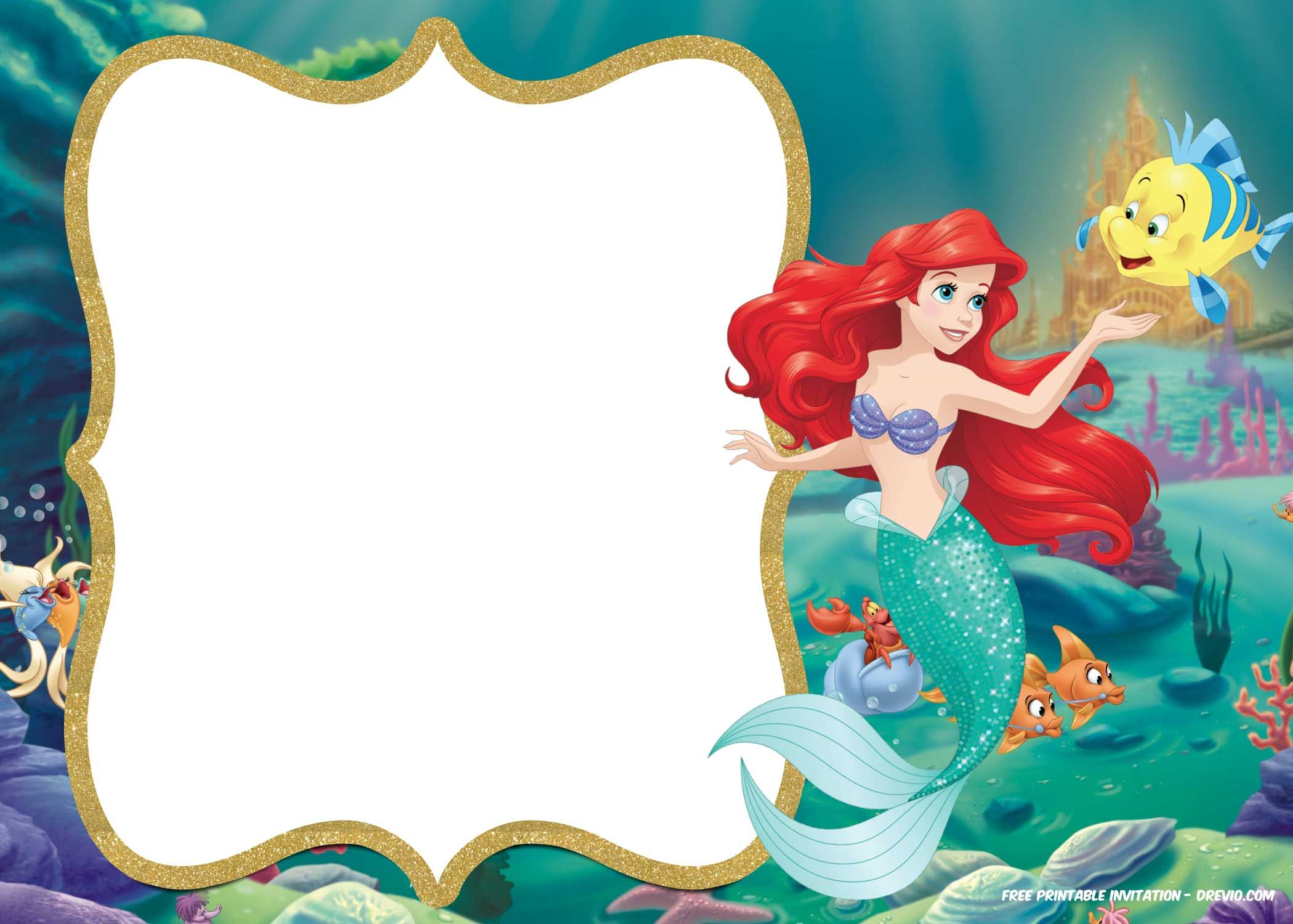 Little Mermaid Royal Invitation Templates Free Printable Birthday