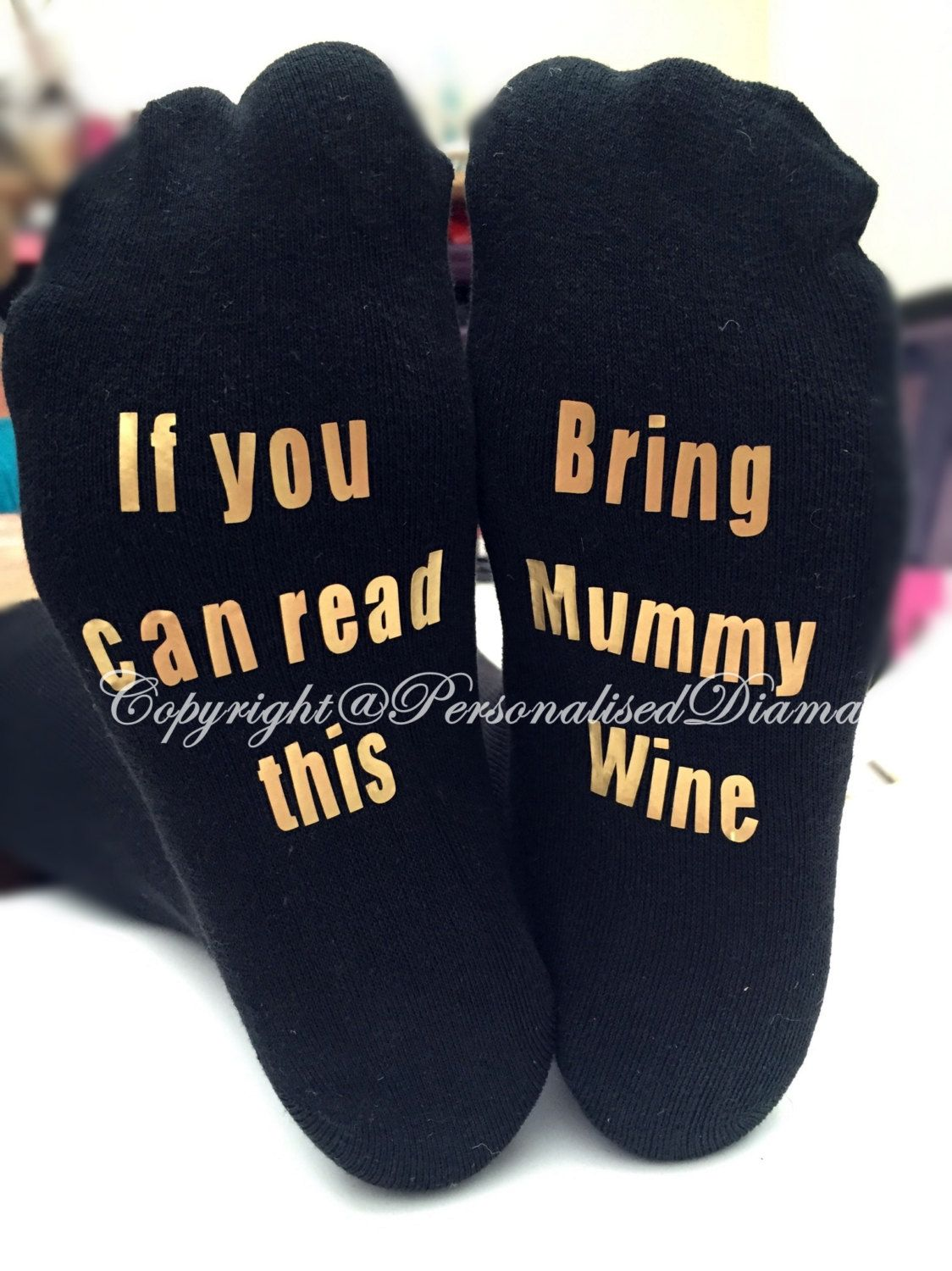 personalised sock , if you can read this brind mummy wine , if you can read this…