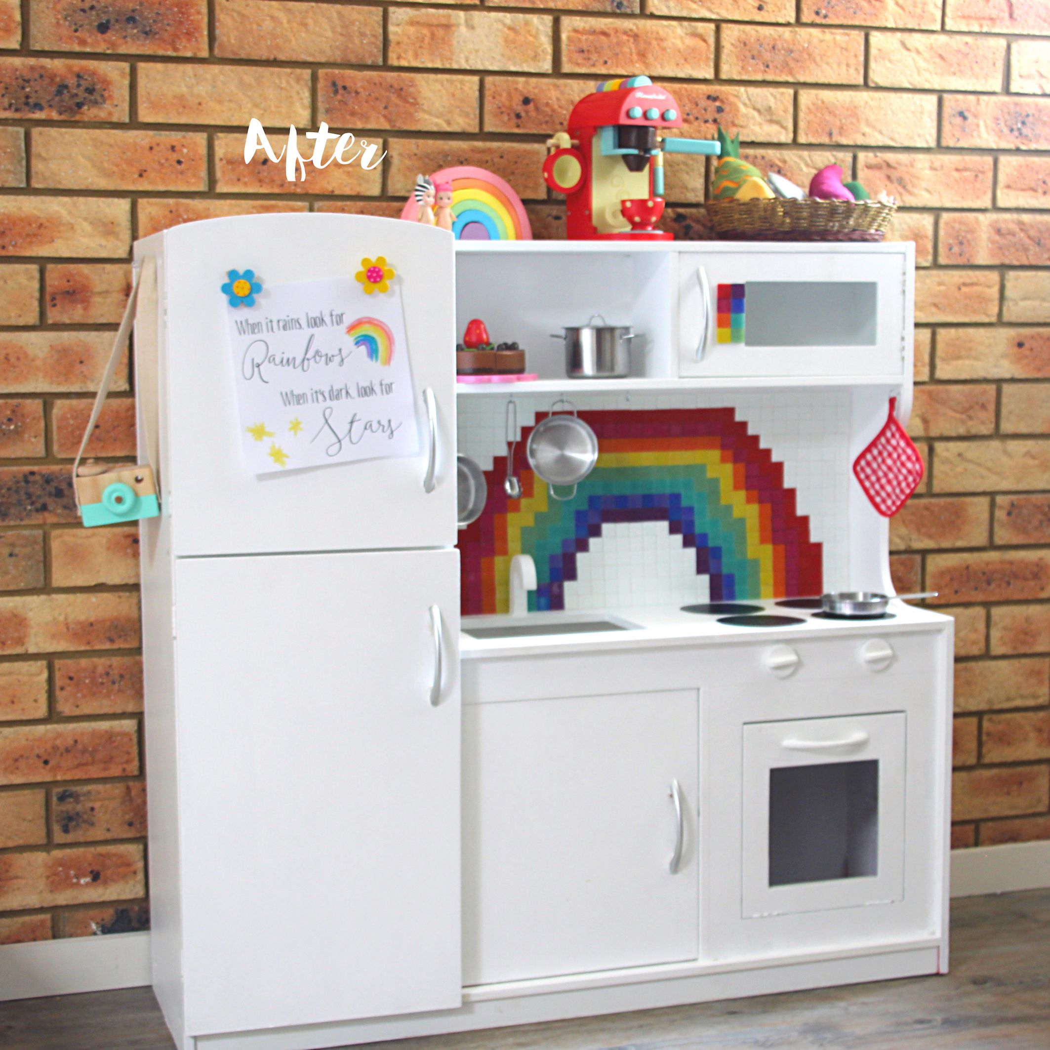 Before and After: A Kmart Wooden Play Kitchen Hack | Wooden play ...