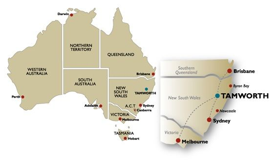Heres a cute little map to show you where Tamworth is in Australia