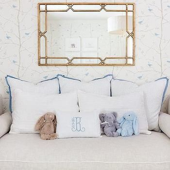 Nursery with Light Gray Daybed with Gold Bamboo Mirror bedrooms