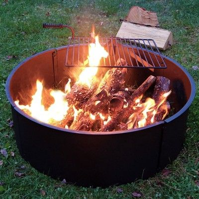 Steel 36 Wood Burning Campfire Ring With Cooking Grate Round Sunnydaze Decor Campfire Ring Large Fire Pit Fire Pit Kit
