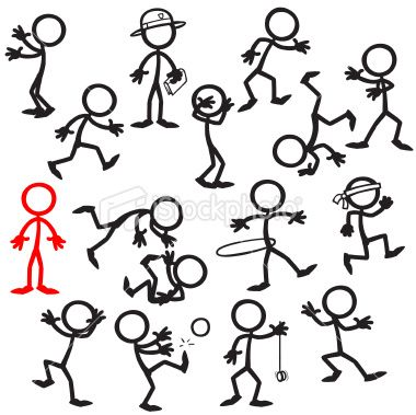 A lone Stickfigure standing out in a crowd, looking and
