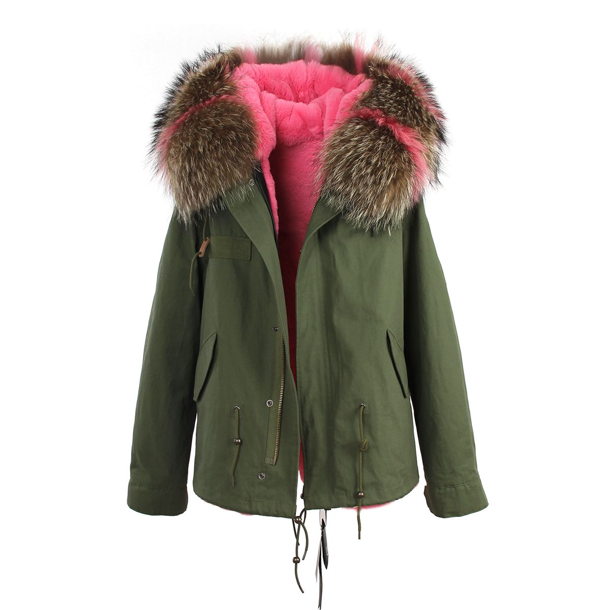Green parka jacket with patchwork stripe fur hood and faux fur lining. #slayaccessories #parka #furparka #jacket #greenparka #olivegreen #pink #pinkfur #stripe #patchwork #miniparka #stylish #chic #fashion #outerwear #aw16