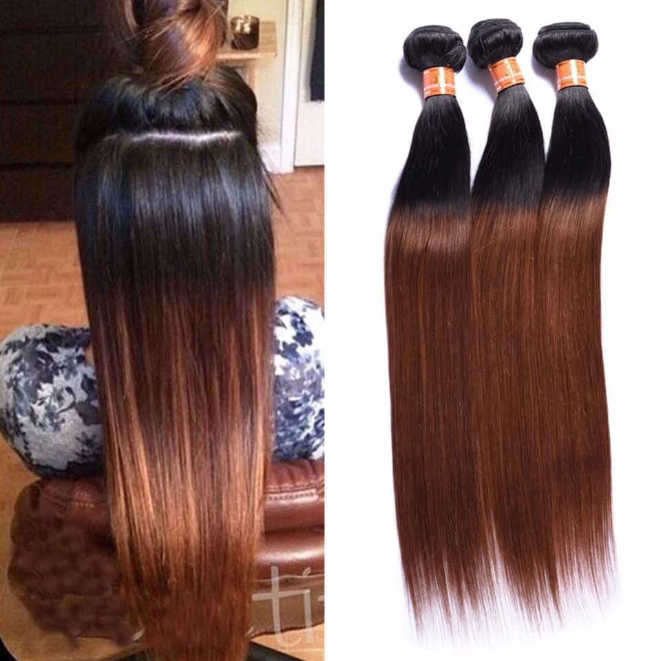 TOP Grade real human hair uk, ombre color 1b/30 straight