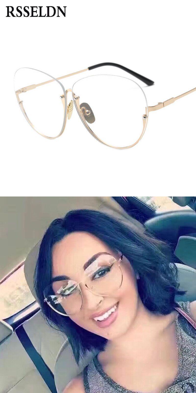 04f9b5d2298 Newest semi rimless glasses frame women eyeglasses frames branded clear lens  vintage eyeglass frame eyewear