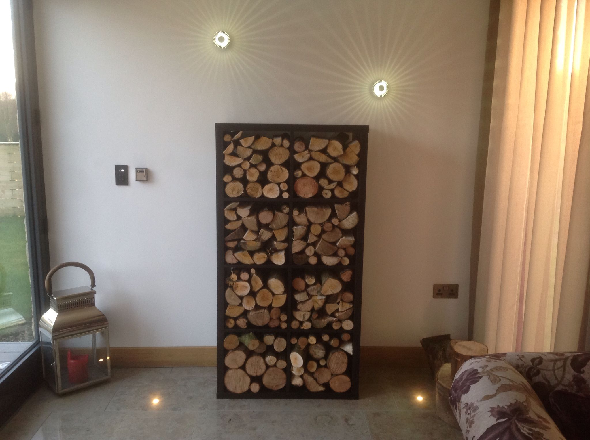 living room firewood holder how to decorate my walls indoor log store thanks ikea shelves 55 looks great
