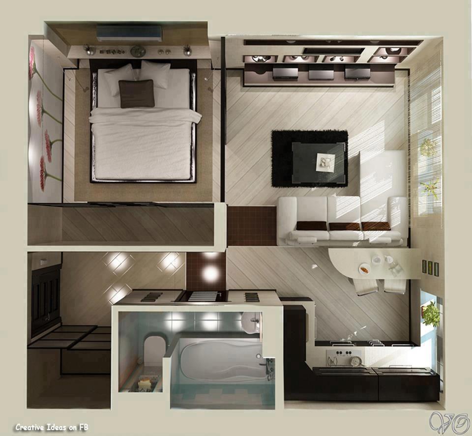 Nice 1 Bedroom Apartments: Studio Apartment Floor