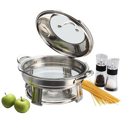 Bodeux 3-Qt. Buffet Server  Item: 156534643   Model: Bodeux This 3-qt. buffet server is made from heavy-gauge stainless steel with tealight candle holders to keep prepared foods warm. It features a high-domed  stainless steel see-through lid with a resting feature for easier self-service and a solid casting stainless steel riveted handle for extra durability. Included is a tempered glass baking dish that is oven, microwave and dishwasher safe.
