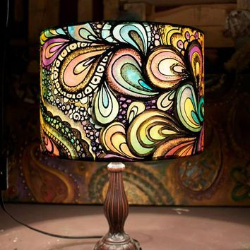 Psychedelic design multi coloured hand silk painted lamp shade hand painted lamp aloadofball Images