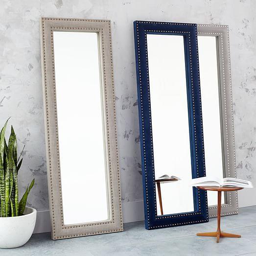 Upholstered Floor Mirror - Ink Blue Velvet | west elm | DH Main ...