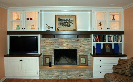 fireplace wall stone with tv and shelves home is where the is rh pinterest com