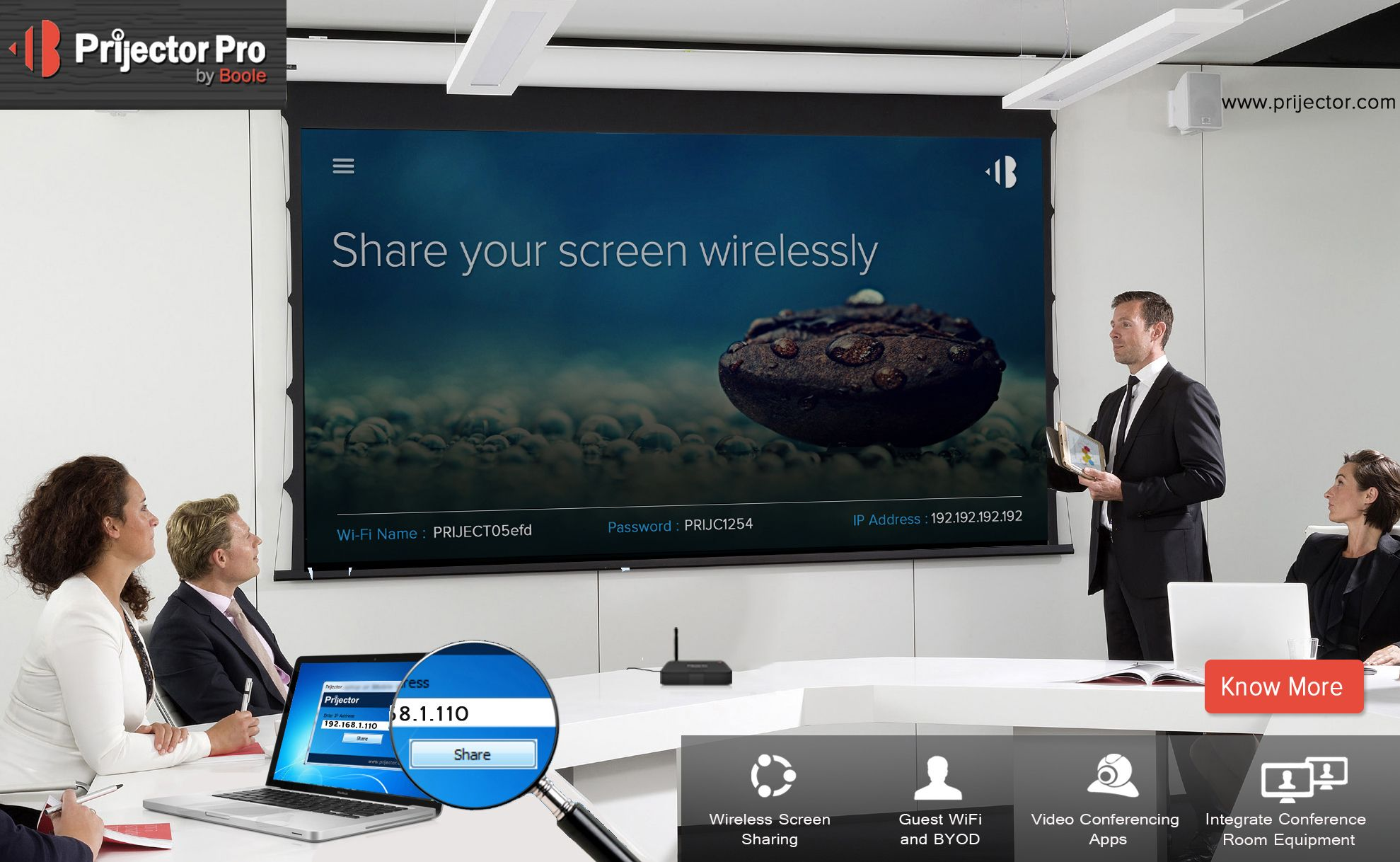 Prijector Pro makes every meeting room video conferencing