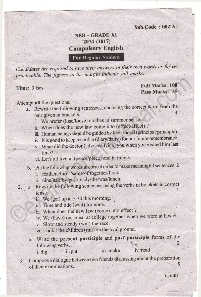 Compulsory English Grade XI Question Paper 2074 [2017