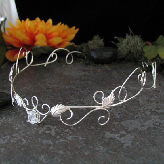 Renaissance Elven Romantic Wedding Circlet, OOAK Woodland Bridal Headpiece, Sterling Silver Circlet, Handmade Wedding Circlet, Gemstone #bridalheadpieces