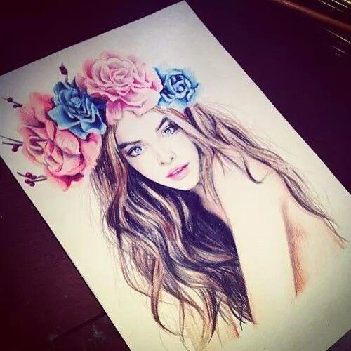 Drawn girl with flower head band | Fuluolarts | Pinterest ...