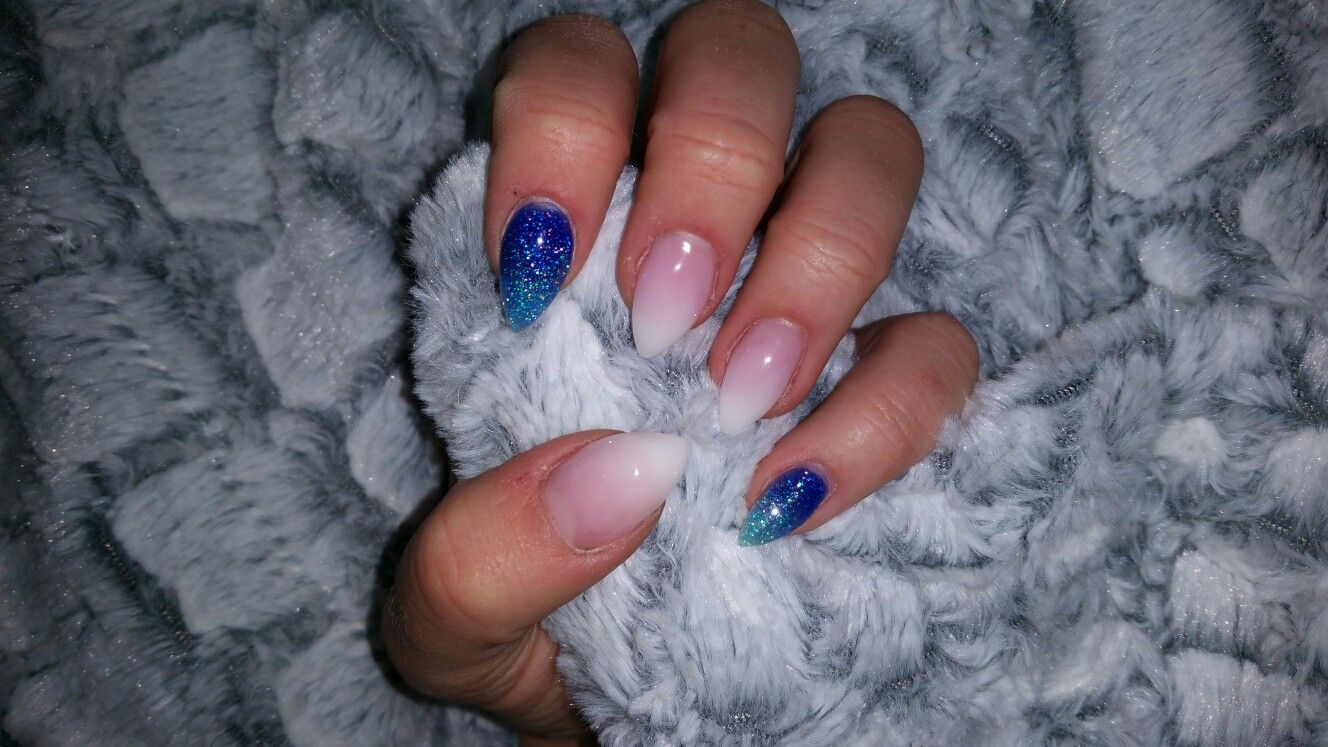 Blue glitter nail design, white french, Acryl