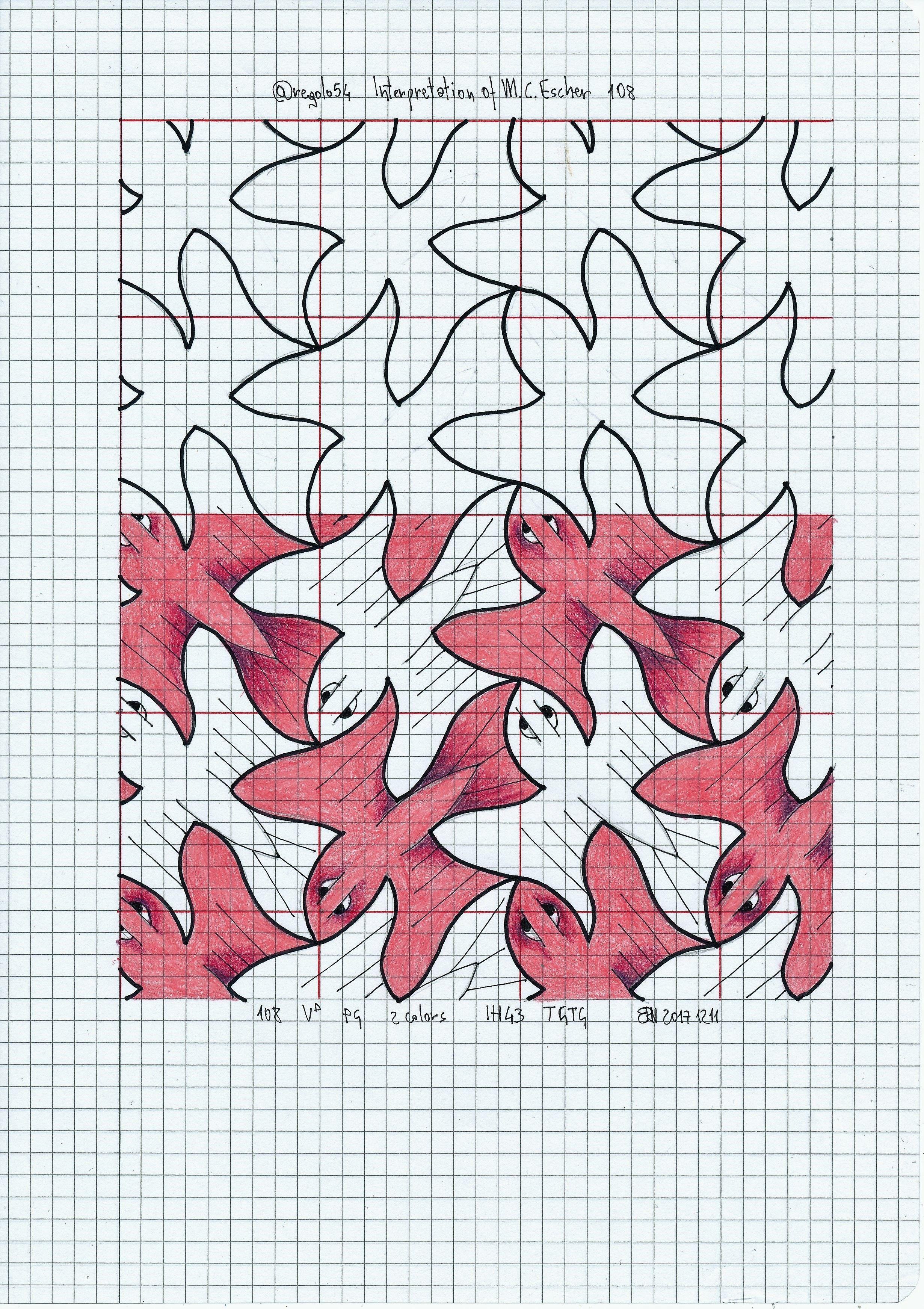 My Interpretation Of Mc Escher Nr 108 Regolo54 Escher Handmade Mathart Symmetry Geometry Tessellation Tiling Redes Modulares Dibujos Geometria