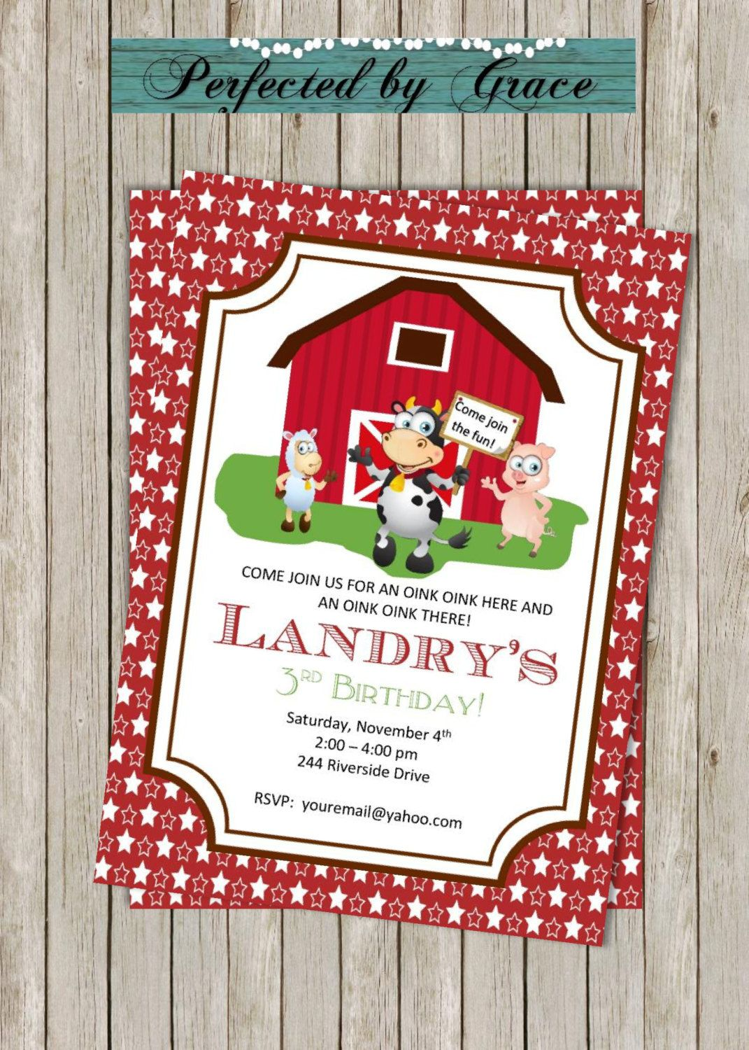 DIY PRINTABLE Old MacDonald Birthday Invitations | Farm Birthday ...