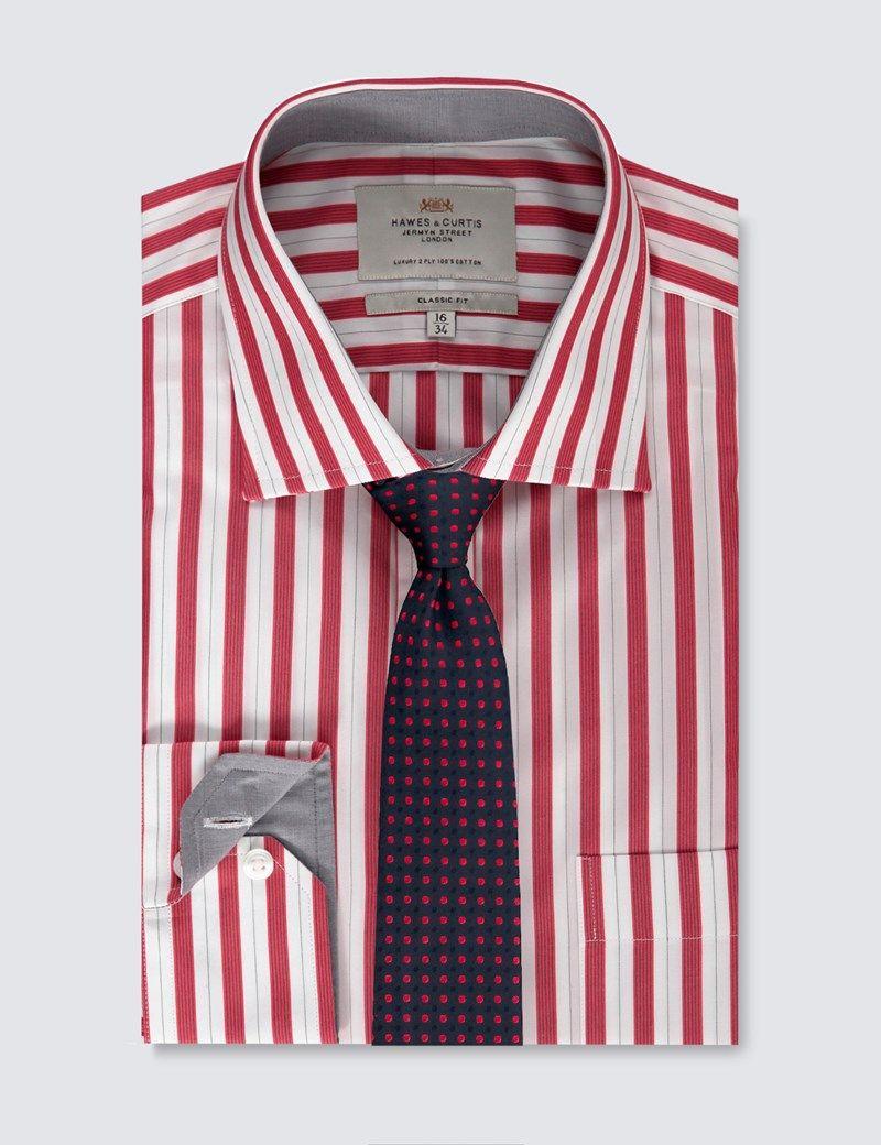 Mens Red Navy Bold Stripe Classic Fit Dress Shirt Single Cuff