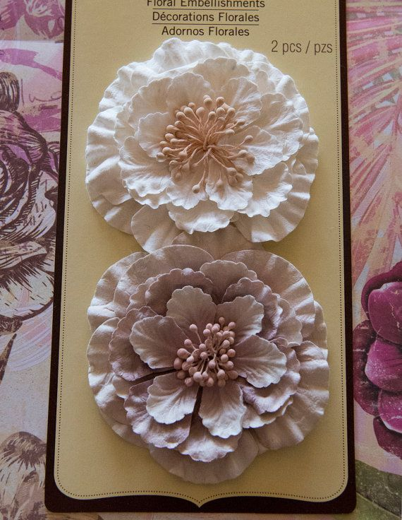 Shabby Vintage Flower Embellishment Ivory And Pink For Scrapbooking