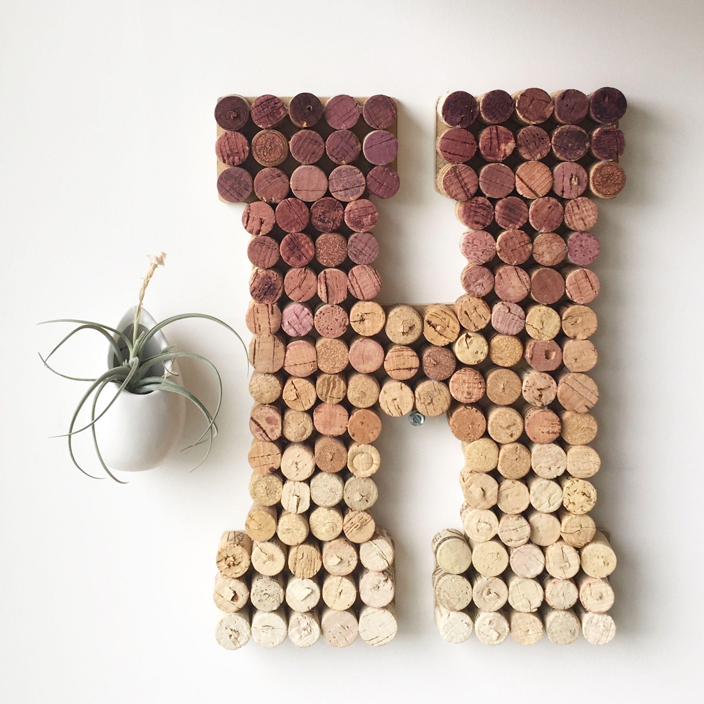 ombre wine cork letter h