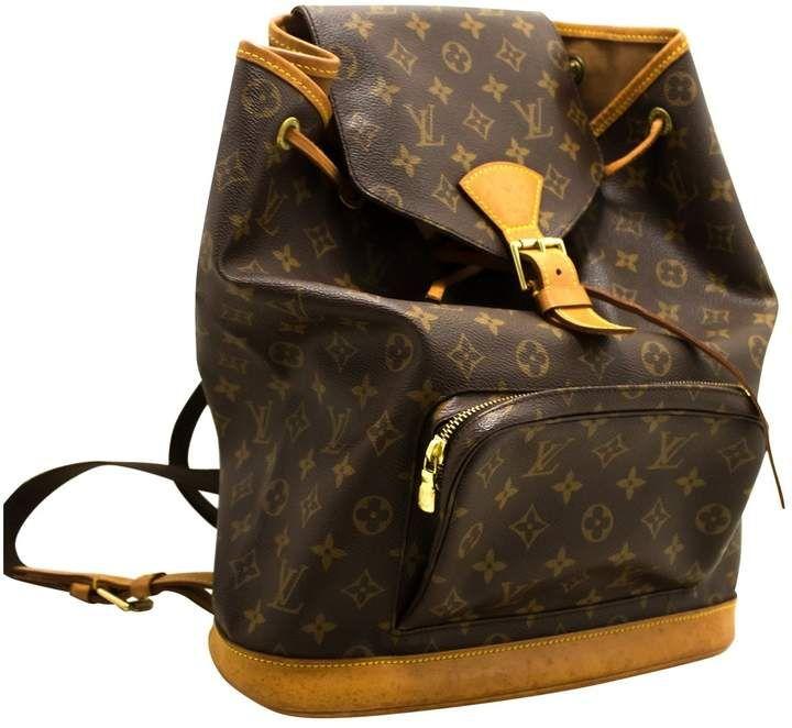 588bdcfffb71 Louis Vuitton Vintage Montsouris Brown Cloth Backpacks