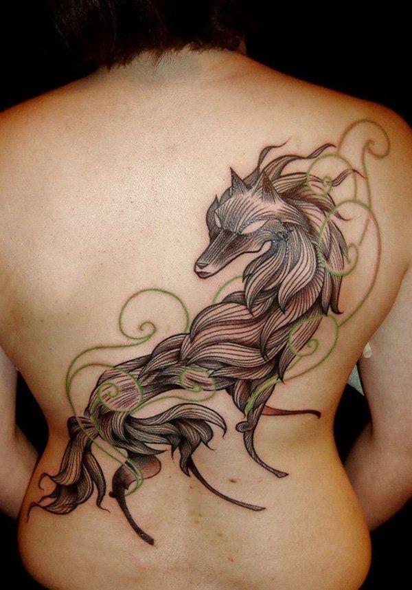 Wolf Tattoo on Back - 55 Wolf Tattoo Designs  <3 !