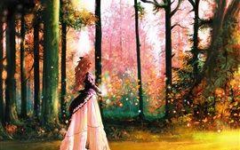 Kunst Bilder, Wald, Mädchen, Bäume, magische, bunte Hintergrundbilder Bilder Fotos