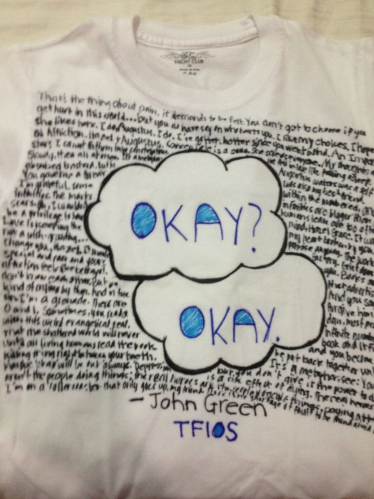Tfios Party Decorate T Shirts With Favorite Quotes From Book