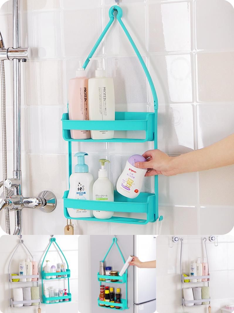 Visit to Buy] Multi Use Double Layer Bathroom Shelf Shampoo Bottle ...