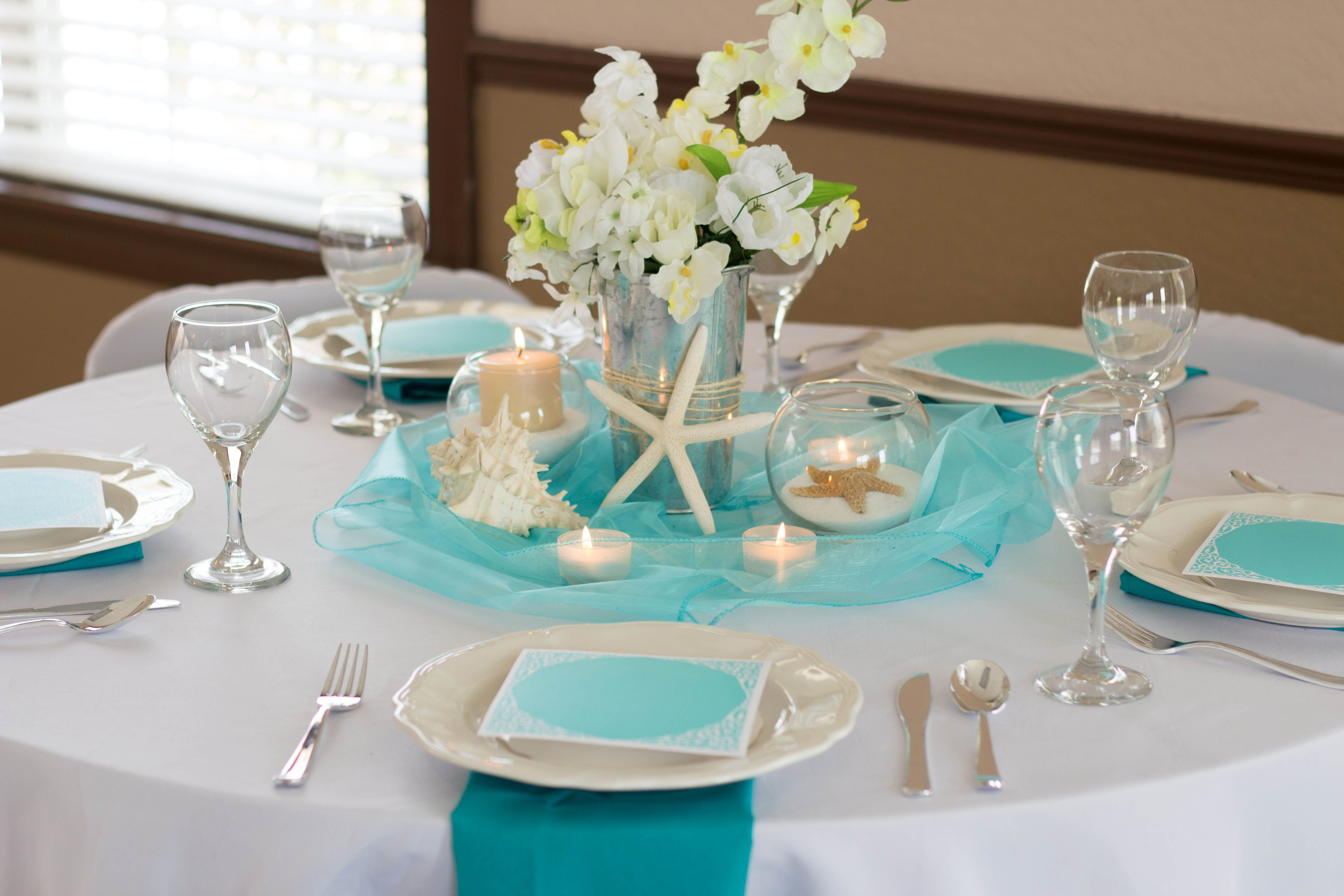 Beach Bliss Wedding Reception Table, Blue, Turquoise, white ...