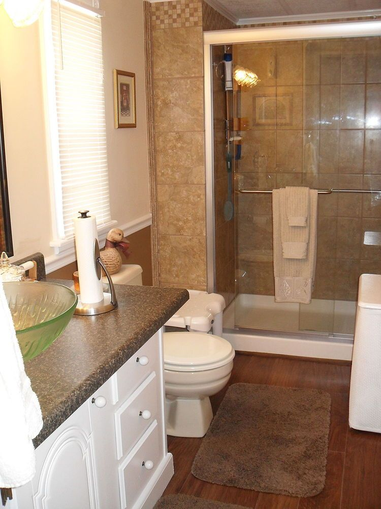 Repainted all the walls in our mobile home and redone our - Bathroom designs for home ...