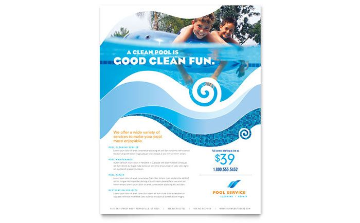 Swimming Pool Cleaning Service Flyer Template Design By