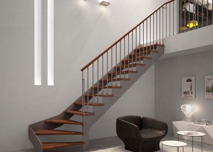 Modelos de escaleras de madera modelos rectos de metal - Modelos de escaleras de interiores de casas ...