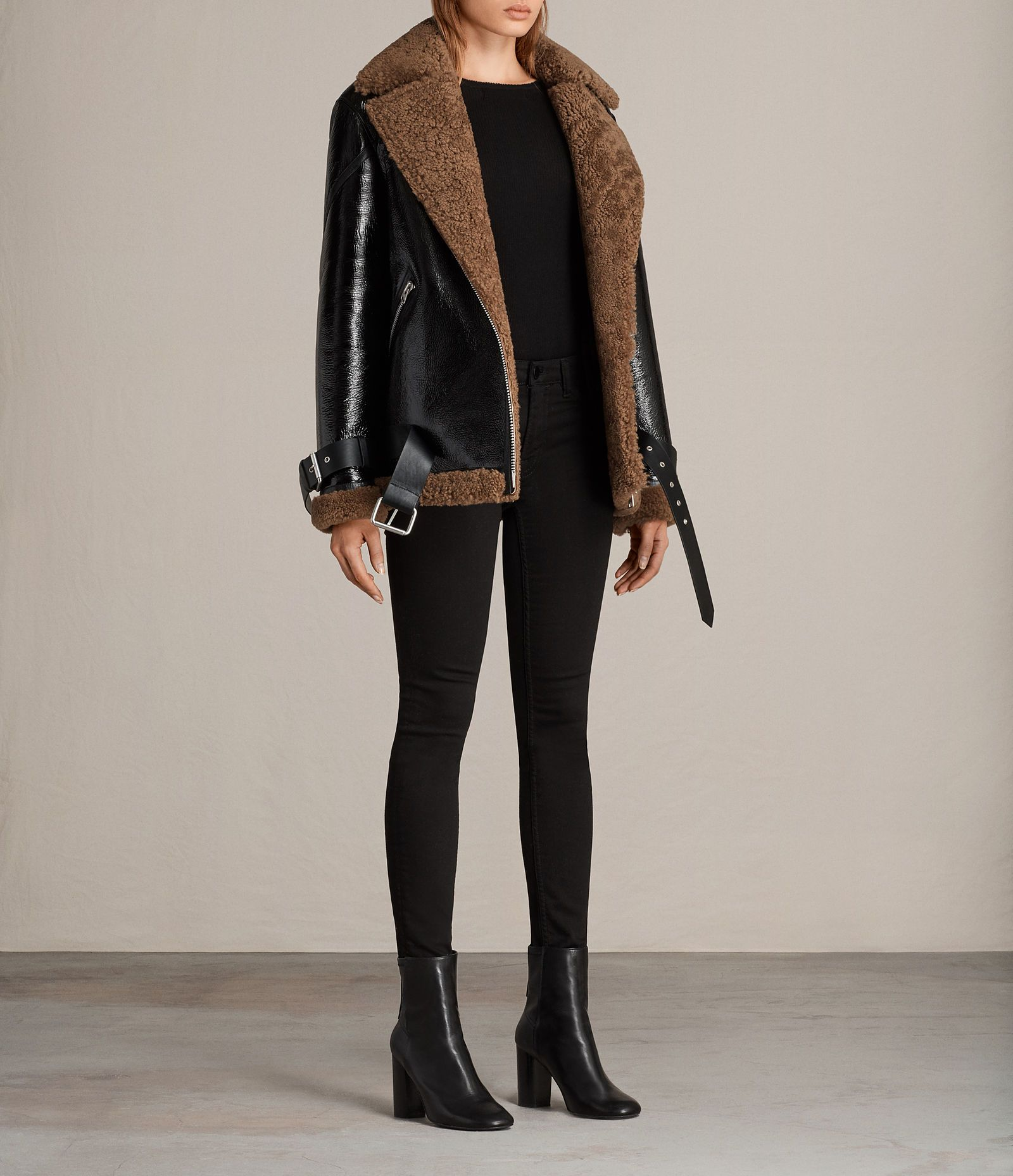 ALLSAINTS US Womens Hawley Oversized Shearling Biker