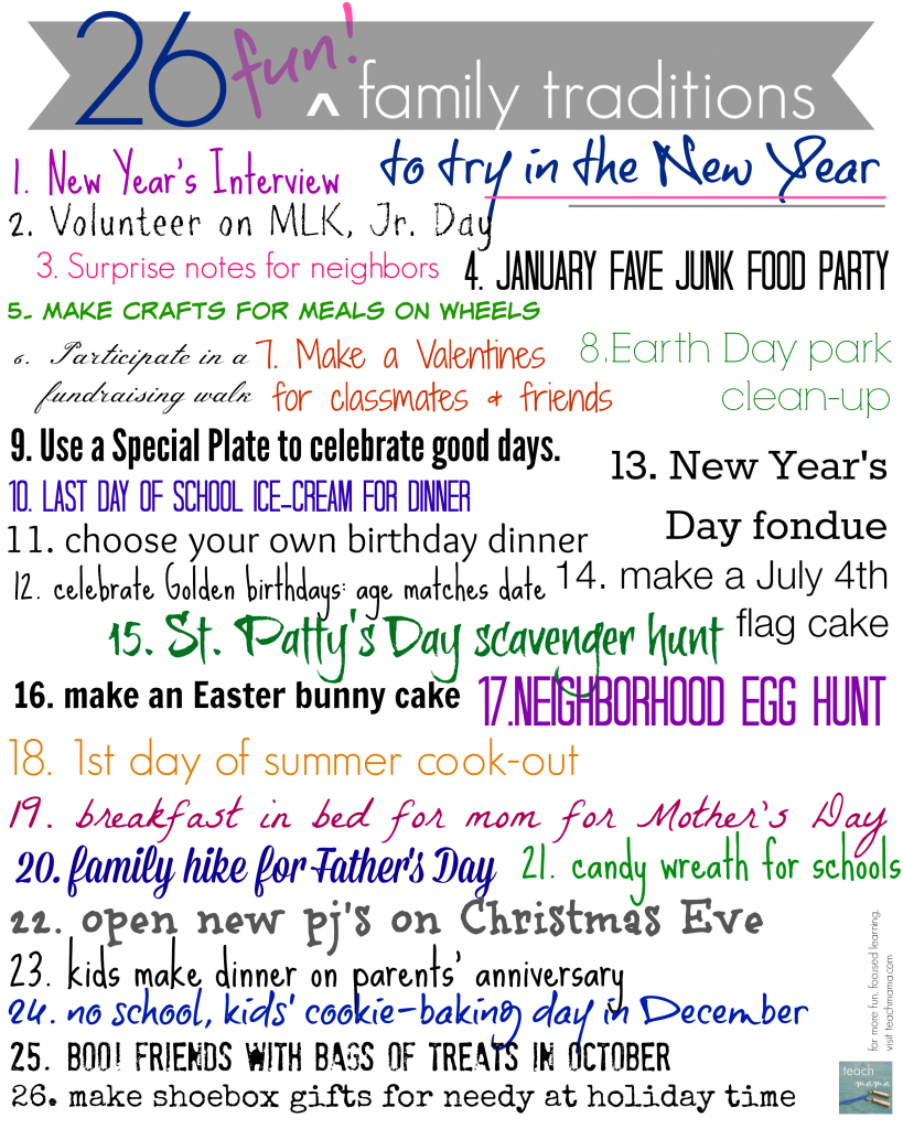 26 cool new family traditions to start in the new year - Cool Stuff To Print Out