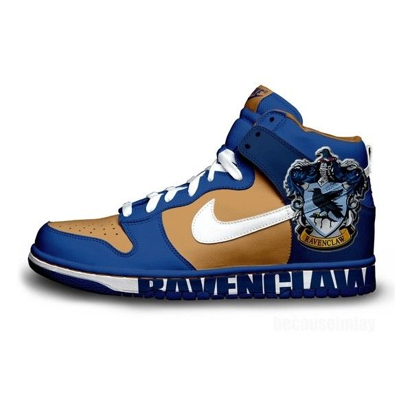 Ravenclaw Nike Dunks ❤ liked on Polyvore featuring shoes, athletic shoes, harry potter, sneakers, hogwarts, nike, nike athletic shoes, nike shoes and nike footwear