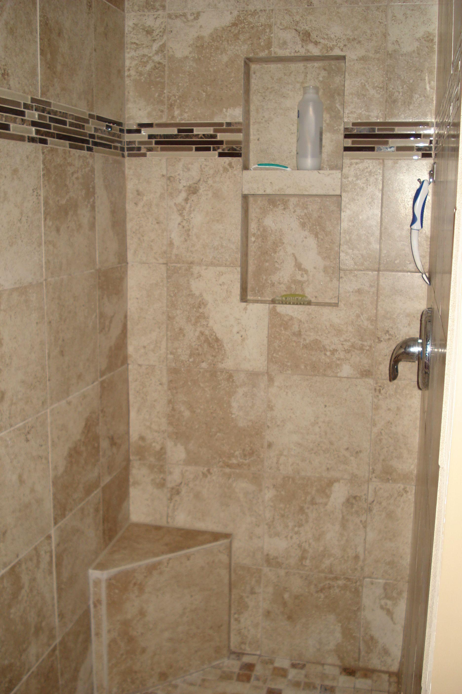 Tan Tile Shower Stall